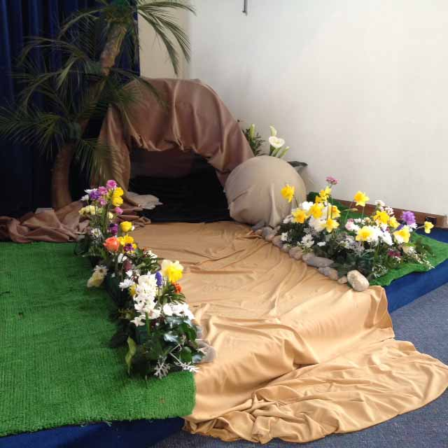An Easter Garden completed by the congregation on Easter Day